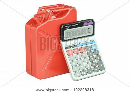Calculation of cost fuel concept. Jerrycan with calculator 3D rendering isolated on white background