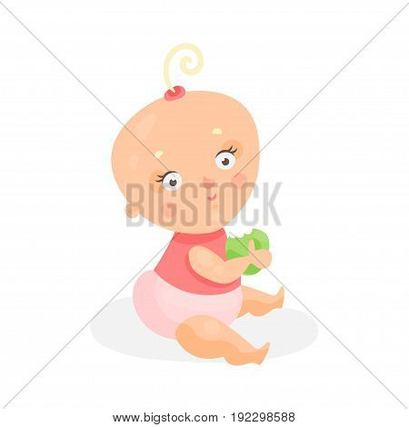Sweet cartoon baby girl in pink cloth sitting and holding green apple, colorful character vector Illustration isolated on a white background