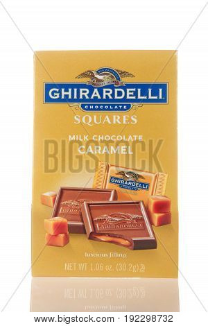 Alameda CA - February 22 2017: 0.7 oz pkg of Ghiradelli brand Milk Chocolate Caramel. The Ghirardelli Chocolate Company was incorporated in 1852. It is the 3rd oldest chocolate company in the U.S.