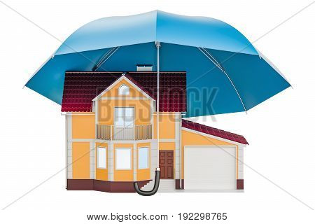House under umbrella. Home security and protection concept 3D rendering isolated on white background