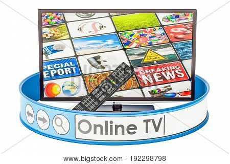 Online TV concept 3D rendering isolated on white background