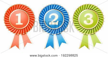 Set of winning awards medals or badges with ribbons. 3D rendering