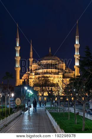 Istanbul Turkey - April 16 2017: Blue Mosque (Sultanahmet Camii) at night