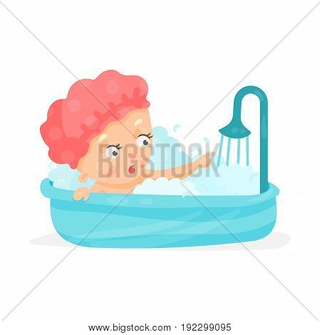 Cute cartoon baby taking a shower, bathing colorful character vector Illustration isolated on a white background