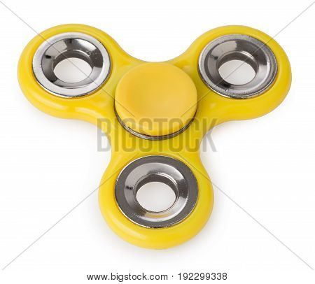 Yellow Spinner Toy, For Stress Relieving Isolated On A White Background.