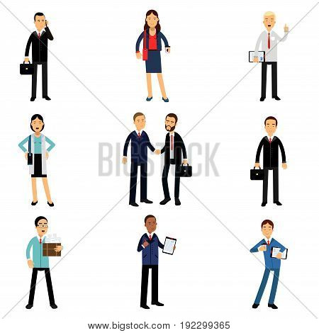 Businesspeople in corporate clothing set, working people characters vector Illustrations isolated on a white background
