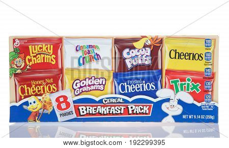 Alameda CA - March 06 2017: General Mills brand cereals 8 breakfast packs. General Mills is one of the World's largest food Companies