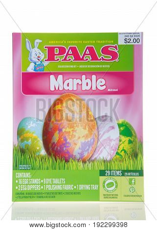 Alameda CA - March 06 2017: Box of PAAS brand egg decorating kit Marble texturing. Coloring eggs for Easter is a fun tradition.