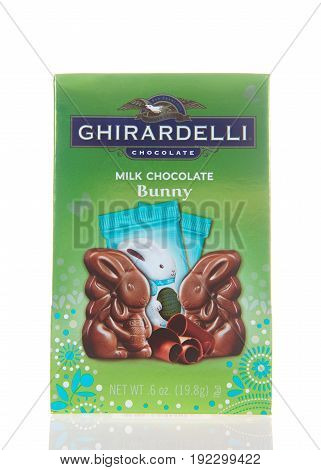 Alameda CA - March 06 2017: Ghirardelli brand Easter special Milk Chocolate Bunnies. Ghirardelli is the third-oldest chocolate company in the United States.