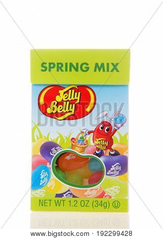 Alameda CA - March 06 2017: 1.2 ounce box of Jelly Belly brand Spring Mix Jelly Beans. The Jelly Belly plant is located in Fairfield California.
