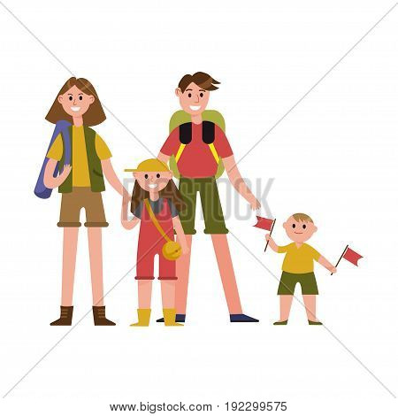 Happy parents with kids on summer vacations cartoon characters, camping travel vector Illustration isolated on a white background