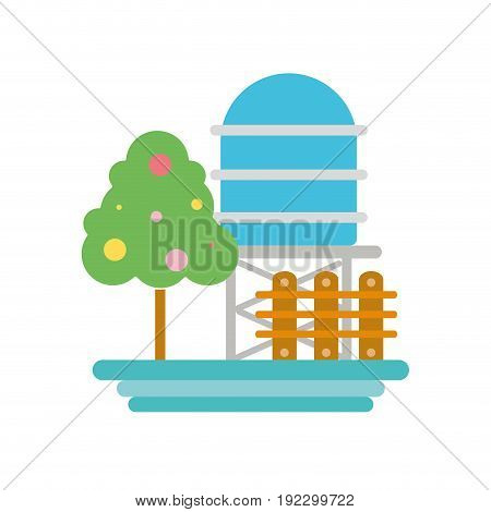 water tabk towel with tree and grid wood vector illustration