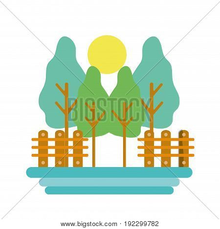trees plants with grid wood and sun vector illustration