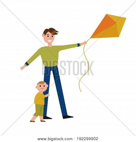 Happy father and his son playing with kite cartoon characters vector Illustration isolated on a white background