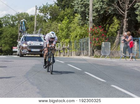 Bourgoin-Jallieu France - 07 June 2017: The French cyclist Pierre Latour of AG2R La Mondiale Team riding during the time trial stage 4 of Criterium du Dauphine 2017.