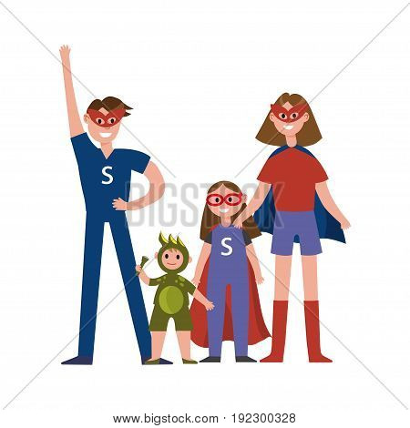 Family of superheroes cartoon characters, parents with their kids in costumes of superheroes having fun vector Illustration isolated on a white background
