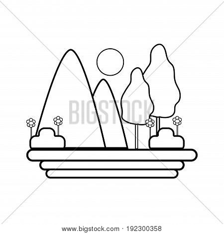 line mountains with trees and sun vector illustration