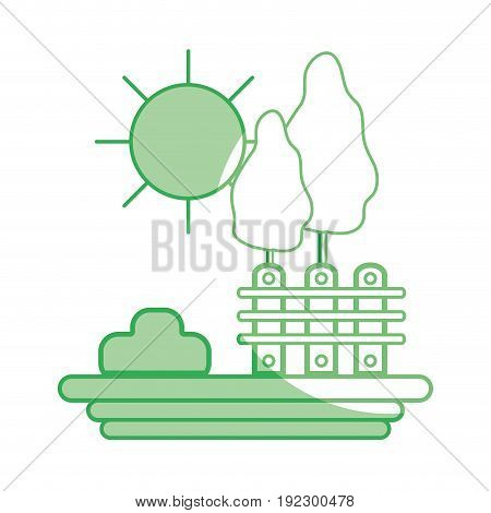 silhouette grid wood with trees and sun vector illustration