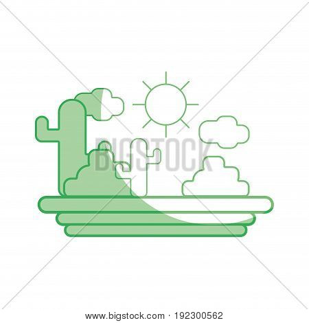silhouette cactus with sun natural aventure vector illustration