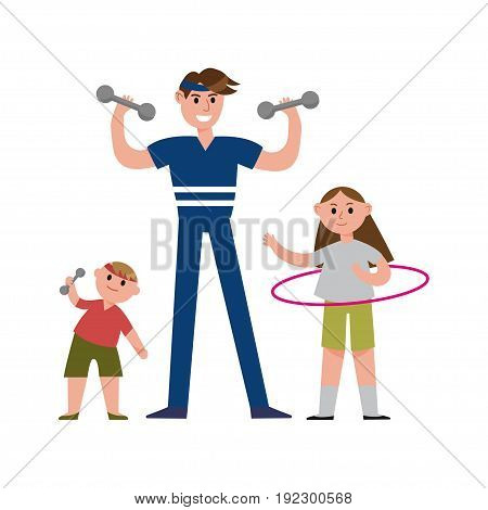 Smiling father with his daughter and son doing sports exercises with sports equipment cartoon characters, happy family playing sports together vector Illustration isolated on a white background