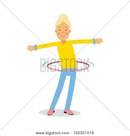 Cute blonde teenager girl spinning a hula hoop around the waist cartoon character, kids physical activities vector Illustration isolated on a white background
