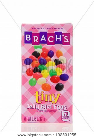 Alameda CA - March 06 2017: 0.75 ounce box of Brach's brand tiny jelly bird eggs. Brach's is known as
