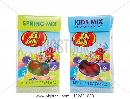 Alameda CA - March 06 2017: 1.2 ounce boxes of Jelly Belly brand Kids Mix and Spring Mix Jelly Beans. The Jelly Belly plant is located in Fairfield California