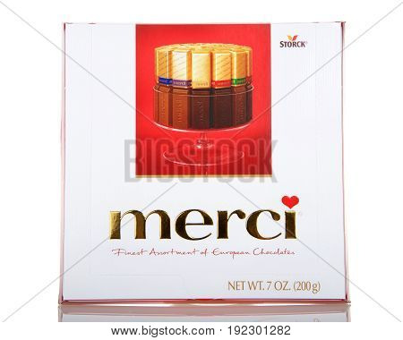 Alameda CA - March 13 2017: 7 oz box of Storch brand merci chocolates. Finest assortment of European chocolates.