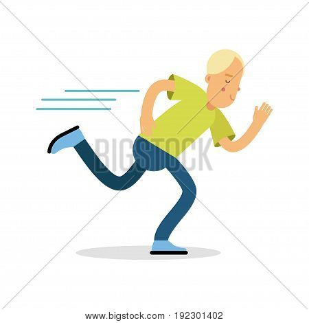 Active boy teenager running cartoon character, kids physical activities vector Illustration isolated on a white background