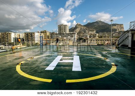Palermo.Italy.May 26 2017.A view of the port and mount Pellegrino and the city of Palermo from the deck of the ferry. Sicily
