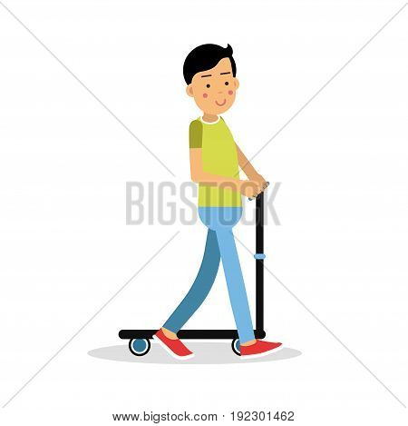 Cute brunette boy teen riding a kick scooter cartoon character, kids physical activities vector Illustration isolated on a white background
