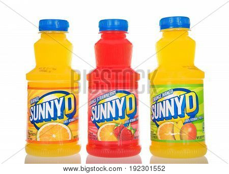 Alameda CA - March 17 2017: Bottles of Sunny D brand orange drink. Original Orange Strawberry and Orange Mango flavors. Sunny Delight Beverages Co. is a privately owned company in Cincinnati Ohio.