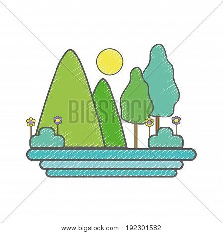 mountains with trees and sun vector illustration