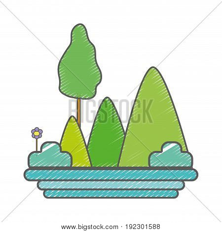 mountains with plants with flowers and trees vector illustration