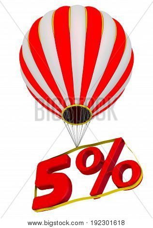 Five percent flies in a hot air balloon. Isolated. 3D Illustration