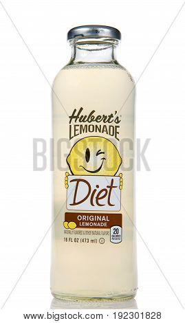 Alameda CA - March 17 2017: One bottle of Hubert's Lemonade original flavor isolated on a white background. Hubert's Lemonade is made using the freshest and sweetest lemons from California.