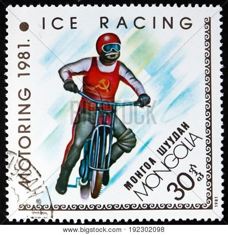 MONGOLIA - CIRCA 1981: a stamp printed in Mongolia shows Ice Racing circa 1981
