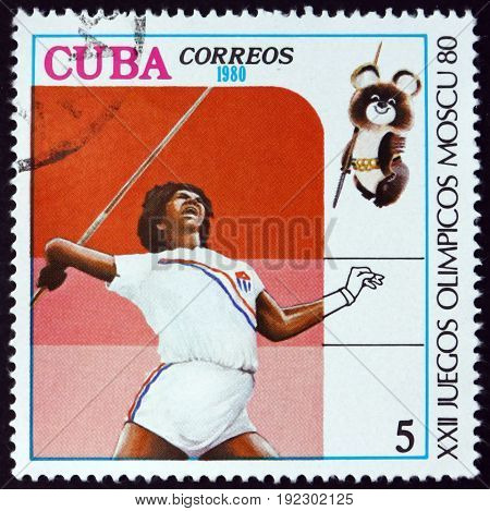 CUBA - CIRCA 1980: a stamp printed in the Cuba shows Javelin 1980 Summer Olympics Moscow circa 1980