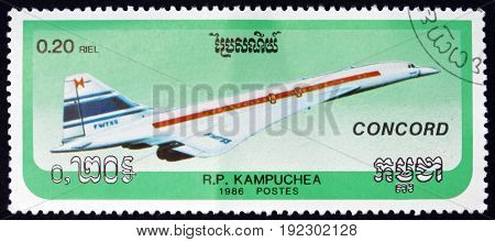 CAMBODIA - CIRCA 1986: a stamp printed in Cambodia shows Concorde Supersonic Passenger Jet Airliner circa 1986