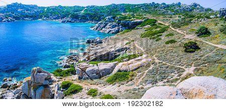 Bizarre granite rock formations in Capo Testa, Sardinia, Italy. Banner