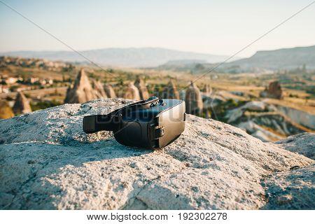 Glasses of virtual reality. Future technology. Modern imaging technology.