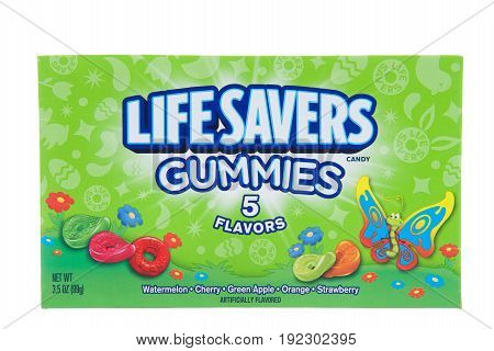 Alameda CA - April 10 2017: One box of Life Savers brand gummy candy spring edition for Easter. Five flavors of Gummies.