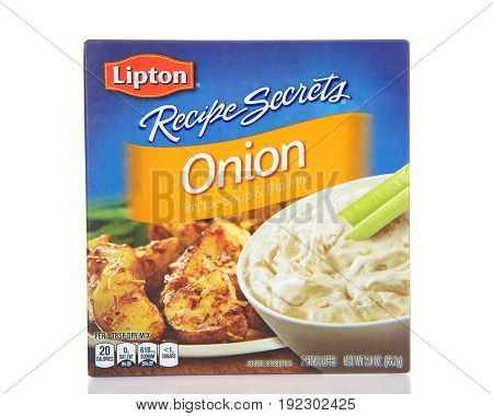Alameda CA - April 10 2017: One box of Lipton brand Onion Soup and Dip Mix.
