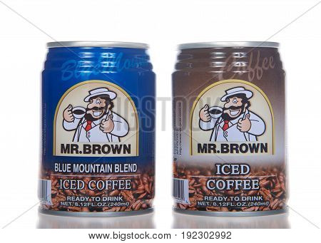 Alameda CA - April 21 2017: Small cans of Mr Brown Iced Coffee. Regular and Blue Mountain Blend flavors.