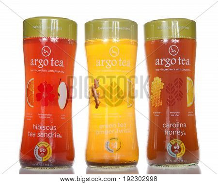Alameda CA - April 21 2017: Bottles of Argo brand tea. Hibiscus tea Sangria Green tea ginger twist and Carolina honey. Argo Tea are inspired by creative mixologists and intelligent nutritionists.