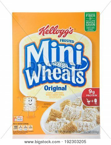 Alameda CA - April 27 2017: Box of Kellogg's brand Mini Wheats original flavor. The breakfast cereal with 8 layers of wheat and one of sweet.