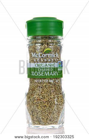 Alameda CA - May 09 2017: One jar of McCormick brand organic Rosemary. McCormick and Company manufactures spices herbs and flavorings for retail commercial and industrial markets.