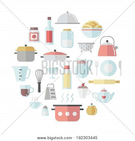 Crockery and cooking cute flat circle vector illustration.