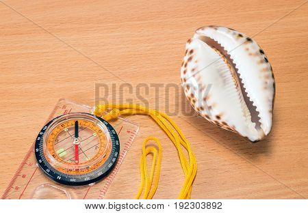 Compass and seashell on a wooden background objects symbolizing tourism and travel