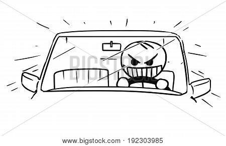 Cartoon vector stickman of mad crazy raging man driving a car fast